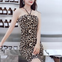 Leopard Prints Halter Neck Body Fitted Bodycon Mini Dress