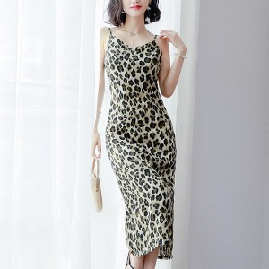 Printed Leopard Pattern Camisole Full Length Party Dress - Multicolors