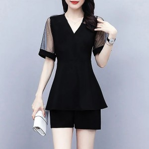 V Neck Short Sleeves Two Pieces Formal Suit - Black