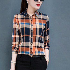 Square Prints Full Sleeves Button Up Casual Shirt - Orange