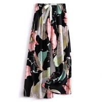 Floral Prints Elastic Waist Loose Casual Wear Trousers - Multicolor