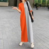 Round Neck Half Sleeves Contrast Loose Full Length Dress - Orange