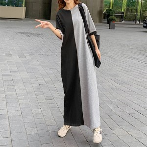 Round Neck Half Sleeves Contrast Loose Full Length Dress - Black