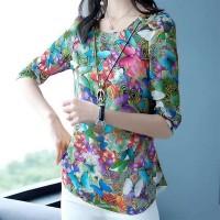 Summer Wear Elegant Women Fashion Floral Tops - Green