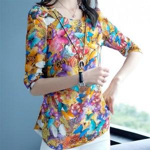 Summer Wear Elegant Women Fashion Floral Tops - Yellow