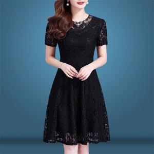 Round Neck Short Sleeves A-Line Lace Mini Dress - Black