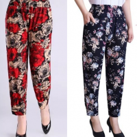 Two Pieces Floral Printed Narrow Pajama Bottom Elastic Waist Trouser - Red Blue