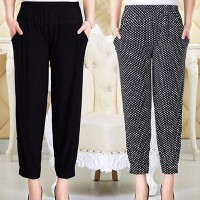 Two Pieces Floral Printed Narrow Pajama Bottom Elastic Waist Trouser - Black And White