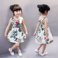 Floral Printed Round Neck Sleeveless Girls Dress - White