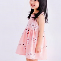 Cute Printed Round Neck Sleeveless Girls Dress - Pink