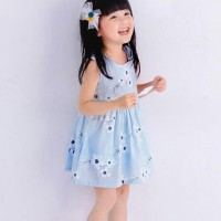 Cute Printed Round Neck Sleeveless Girls Dress - Blue