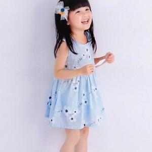 Cute Printed Round Neck Sleeveless Girls Dress - Blue