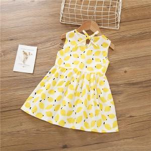 Cute Printed Round Neck Sleeveless Girls Dress - Yellow