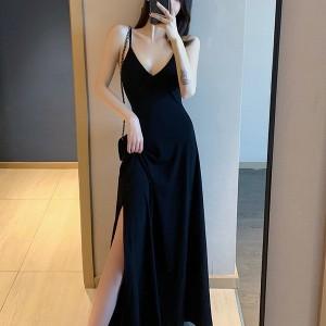 Spaghetti Strapped Crop Full Length Maxi Dress - Black