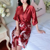 Floral Printed Sleepwear Satin V Neck Wrapped Sexy Nightwear Gown - Red