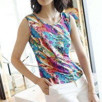 Floral Round Neck Sleeveless Summer Wear Blouse Top - Multicolor