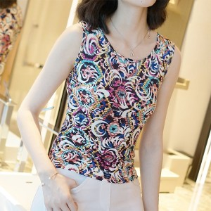 Floral Round Neck Sleeveless Summer Wear Blouse Top