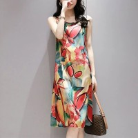 Sleeveless Printed Art Round Neck Women Fashion Mini Dress