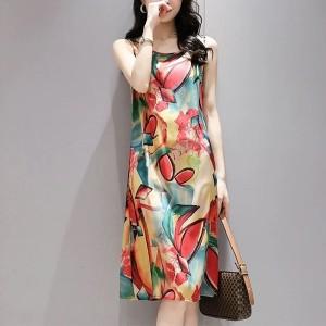Sleeveless Printed Art Round Neck Women Fashion Mini Dress