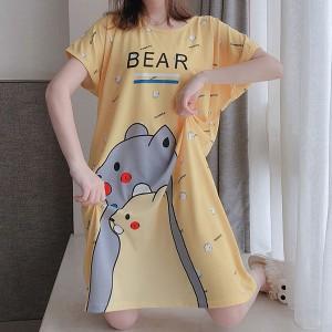 Bear Prints Sleepwear Round Neck Loose Pajama Nightwear - Yellow