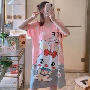 Bunny Prints Sleepwear Round Neck Loose Pajama Nightwear - Multi Color