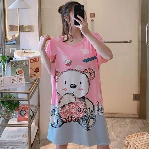Bear Prints Sleepwear Round Neck Loose Pajama Nightwear - Multicolors