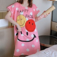 Polka Dot Prints Sleepwear Round Neck Loose Pajama Nightwear - Pink