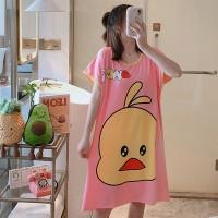 Duck Prints Sleepwear Round Neck Loose Pajama Nightwear - Pink