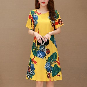 Round Neck Floral Printed Short Sleeved Mini Dress - Yellow