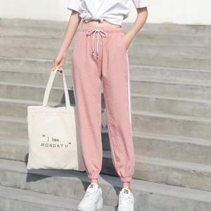 String Waist Narrow Bottom Casual Wear Trousers - Pink
