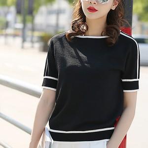 Contrast Round Neck Women Fashion Summer Top - Black