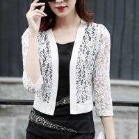 Lace See Through Floral Women Fashion Outwear Jacket - White