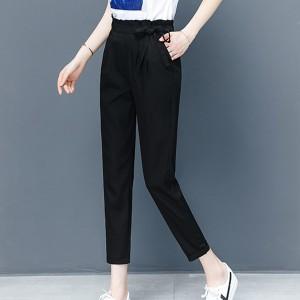 Knotted Waist Women Fashion Narrow Bottom Trousers - Black