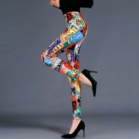 Alphabetic Prints Elastic Waist Tight Fitted Trousers - Multicolor
