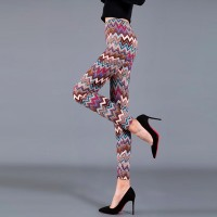 Geometric Prints Elastic Waist Tight Fitted Trousers - Patched Multicolors