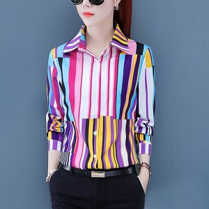 Striped Prints Shirt Collar Cocktail Women Fashion Shirts