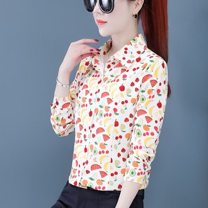Fruits Printed Women Fashion Cocktail Wear Shirt - Multicolor