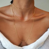 Multilayered Gold Plated Women Fashion Chain Necklace