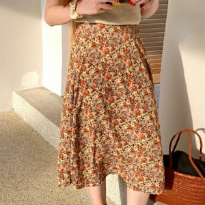 Colorful Printed Fashion Midi Pleated Skirt For Women - Multi Color