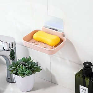 Wall Adhesive Hollow Drainable Fancy Storage Soap Rack - Pink