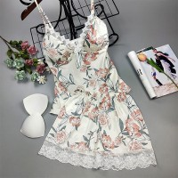 Lace Patched Nightwear Floral Printed Two Piece Pajama Sets - White