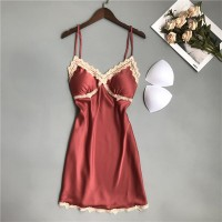 Padded Strap Shoulder Satin Sexy Wear Lingerie Sets - Red