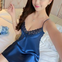 Hollow Lace Textured Floral Sexy Wear Lingerie Sets - Blue