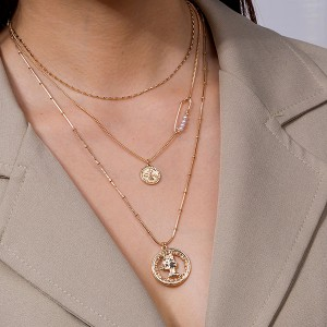 Gold Plated Women Fashion Triple Layered Fashion Necklace