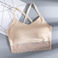 Padded Rose Textured Lace Cross Back Women Sexy Bra - Apricot
