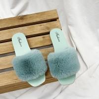 Tassel Fashion Wear Fluddy Women Wear Slippers Sandals - Green