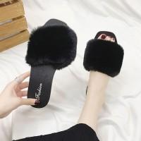 Tassel Fashion Wear Fluddy Women Wear Slippers Sandals - Black