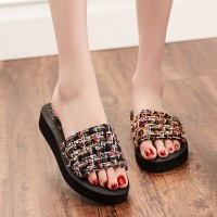 Mesh Pattern Women Fashion Casual Wear Slippers - Black