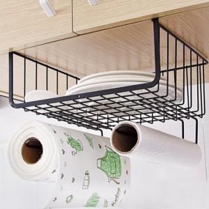 Hooked Fancy Smart Kitchen Insallation Basket Rack - Black