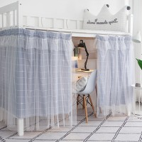 Leaves Prints Bunker Bed Tent Privacy Cover Curtains - Gray